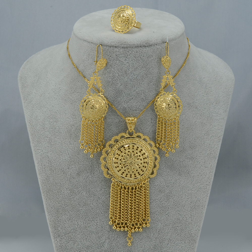 Ethiopian set Jewelry Gold Color African Pendant Necklaces Earrings