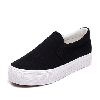 Spring Fashion Women Canvas Shoes Breathable Slip on Whit Black Flat Casual Shoes Woman Sneakers mocasines mujer High Quality