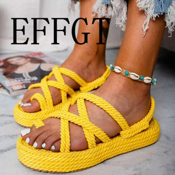EFFGT Summer Casual Sandals Flip Flops 2019 New Summer Fashion Rome Slip-On Breathable Non-slip Shoes Casual Wedge Sandals A105
