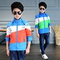 2017 весной и осенью мода классический детская куртка мальчик 4-13-year-old трехцветный шить Куртки куртка