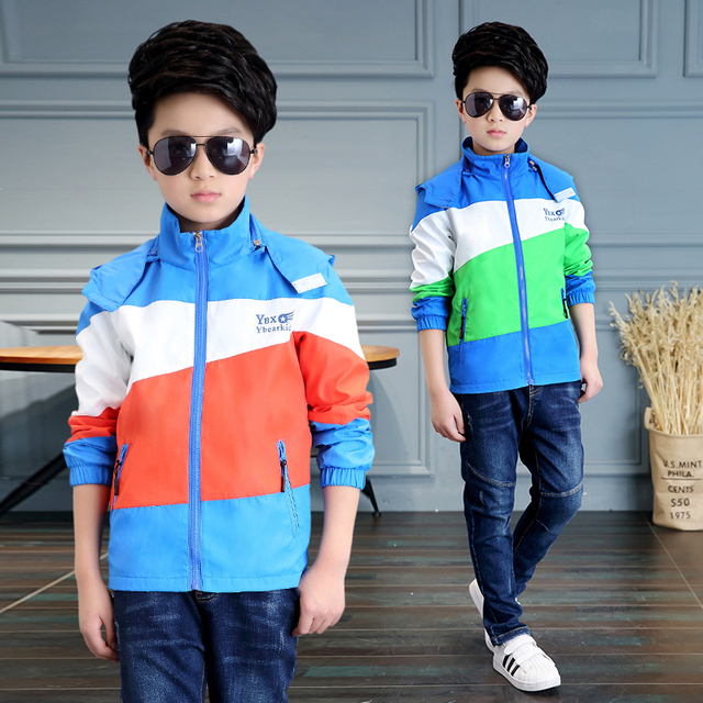 2017 spring and autumn fashion classic children's jacket boy 4-13-year-old three-color stitching Jackets jacket