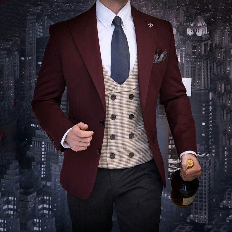 Italian Burgundy Men Suits Pants Groom Wedding Tuxedo Terno Masculino Slim Fit Costume Homme 2Piece Groomsmen Blazers Prom Party