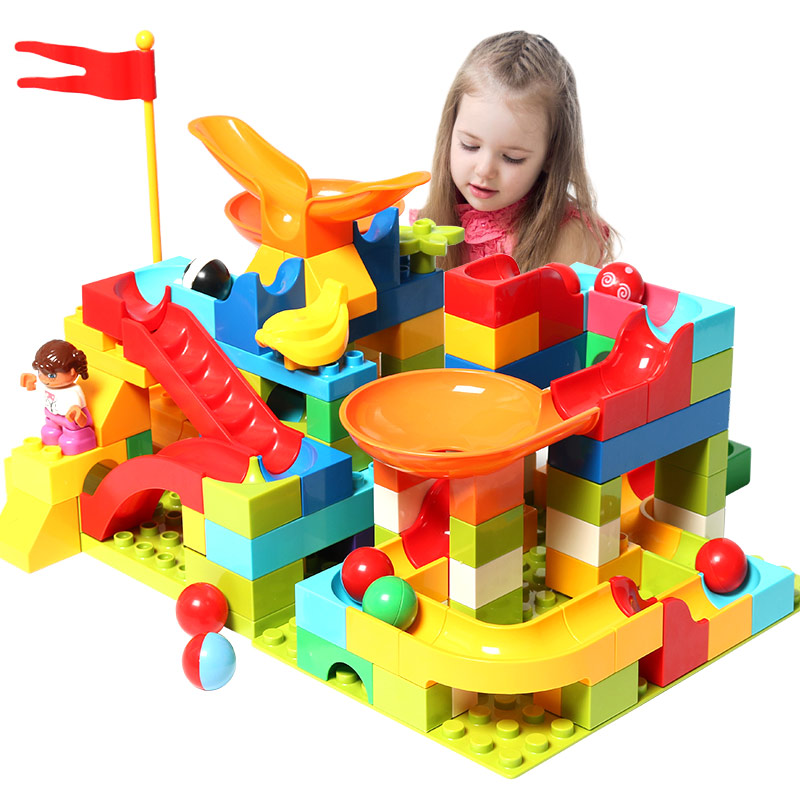 Duploed Big Size Building Block Sets Marble Race Run Blocks Compatible LegoINGly Educational Toys For Children Gift Brinquedos