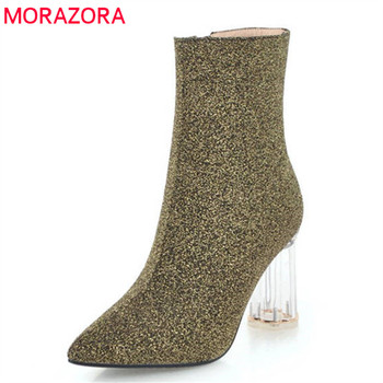 MORAZORA 2018 new arrival ankle boots women short plush autumn winter boots pointed toe high heels boots fashion dress shoes