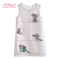 Pettigirl Boutique Girl Winter Tank Dresses Kids Woolen Straight Dress Cute Mouse Sequins Pattern Casual ClothingG-DMGD908-853
