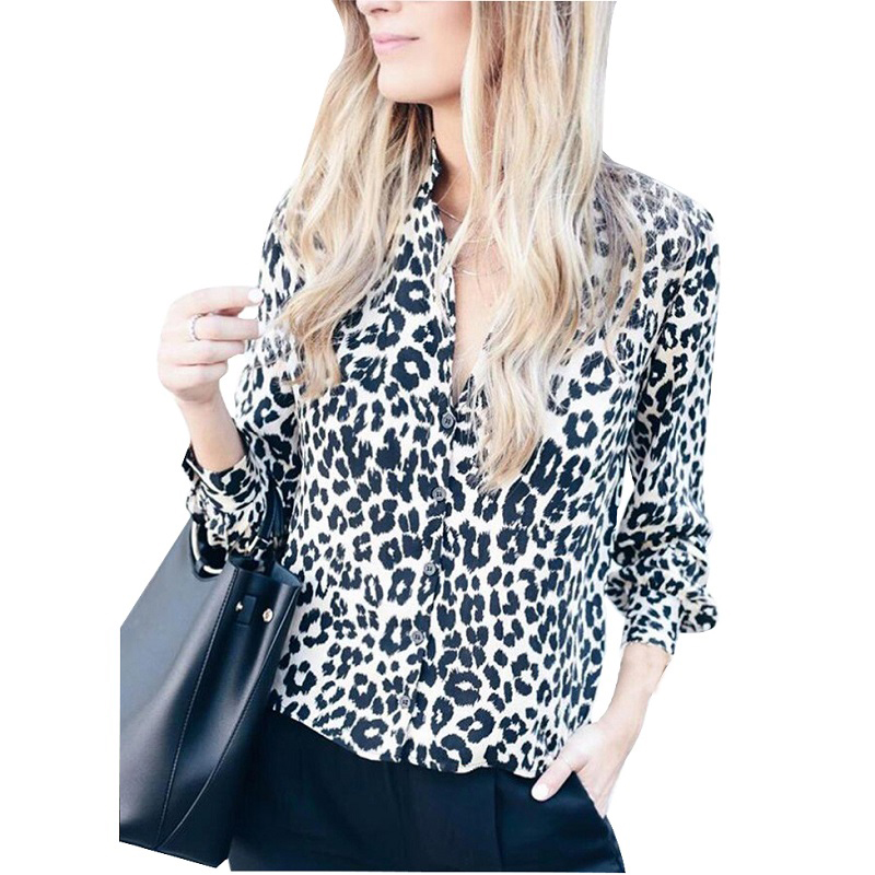 Leopard Print   Blouse     Shirt   Women Long Sleeve V Neck   Shirt   2019 Spring Summer Fashion Button Ladies Tops Casual Loose Clothing