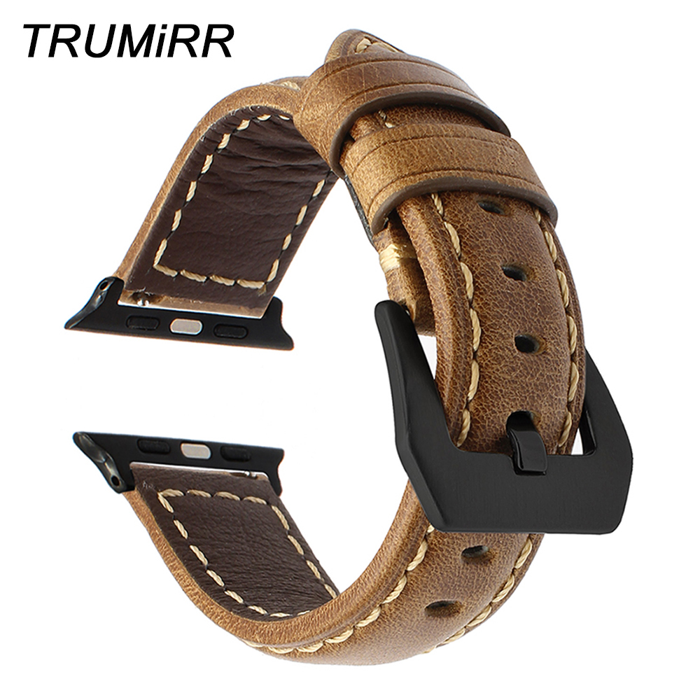 Italian Genuine Leather Watchband for iWatch Apple Watch 38mm 42mm Series 1 2 3 Vintage Band Steel Buckle Strap Wrist Bracelet italian genuine calf leather watchband for iwatch apple watch 38mm 42mm series 1 2 3 band alligator grain strap wrist bracelet