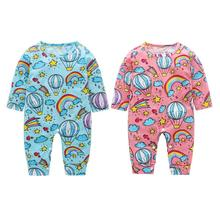 2018 Winter Child Ladies Garments  Trend Cute Rainbow Print Lengthy Sleeve Child Rompers O-Neck Fundamental Heat Infants Jumpsuit Outfits