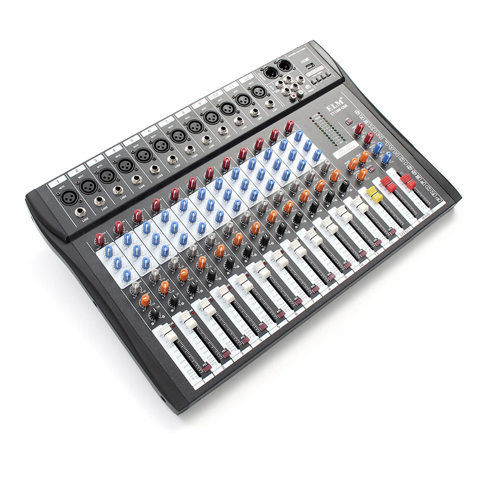 Professional 12 Channel Live Studio Audio Mixer Power USB Mixing Console CT-120S audio mixer cms1600 3 cms compact mixing system professional live mixer with concert sound performance digital 24 48 bit effects