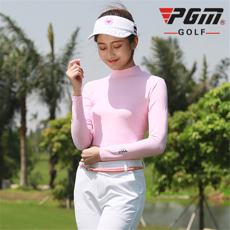 PGM Women Golf Clothes Ice Tights Tshirt Summer Breathable Quick-dry Slim Golf Tops Anti-Uv Sunscreen Shirts AA60444