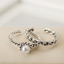 2017 new 2 sets / sets of retro ancient silver twist weave imitation pearl illustration opening ring set girl simple ring(China)