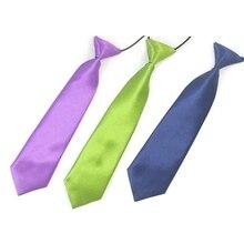 Мальчик галстук дети для школы мальчик Свадебный галстук шеи галстук упругой сплошной Цвет пятно