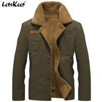 2016 LetsKeep New Winter Bomber Jackets Men Army Outerwear Tactical Jackets Mens Cotton Thick Fur Collar