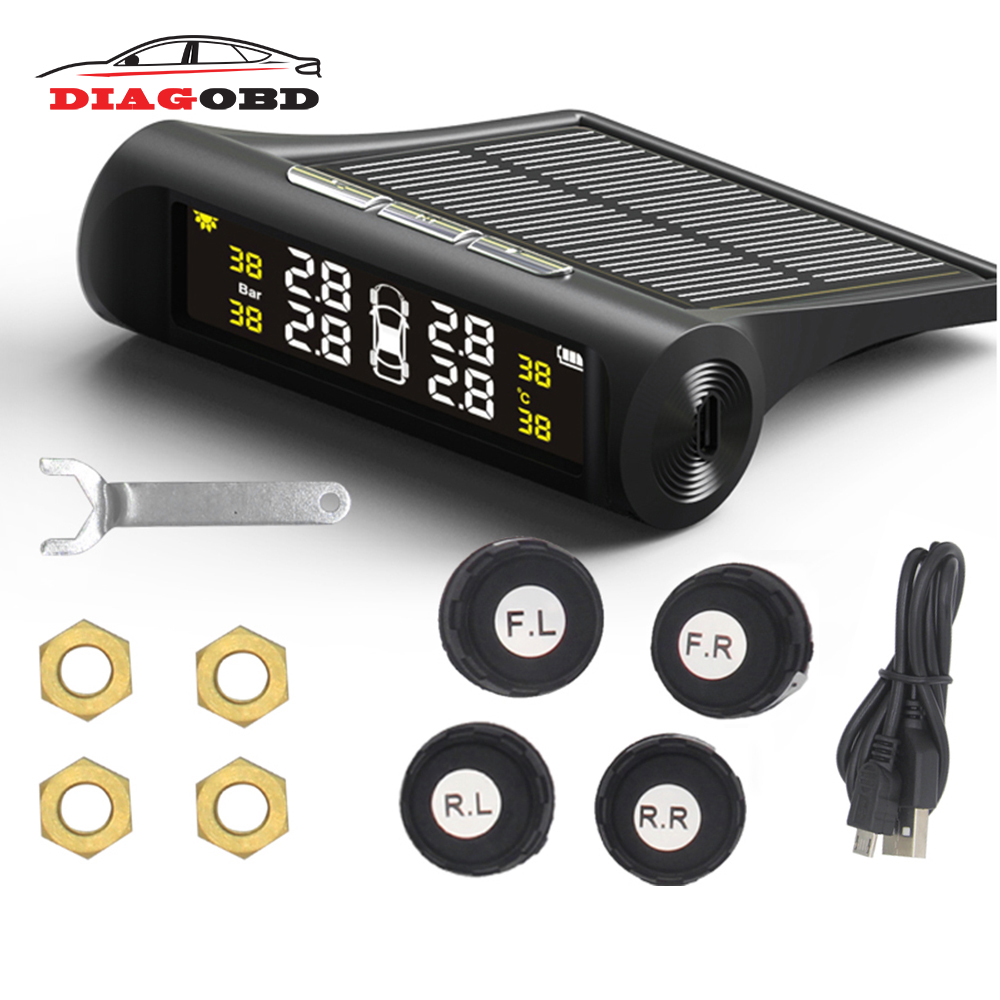 car solar tpms tire pressure monitor wireless tire pressure monitoring alarm system lcd color display internal external sensor Solar TPMS Car Tire Pressure Alarm Monitoring System LCD Display 4 Internal / External Sensor Temperature Warning
