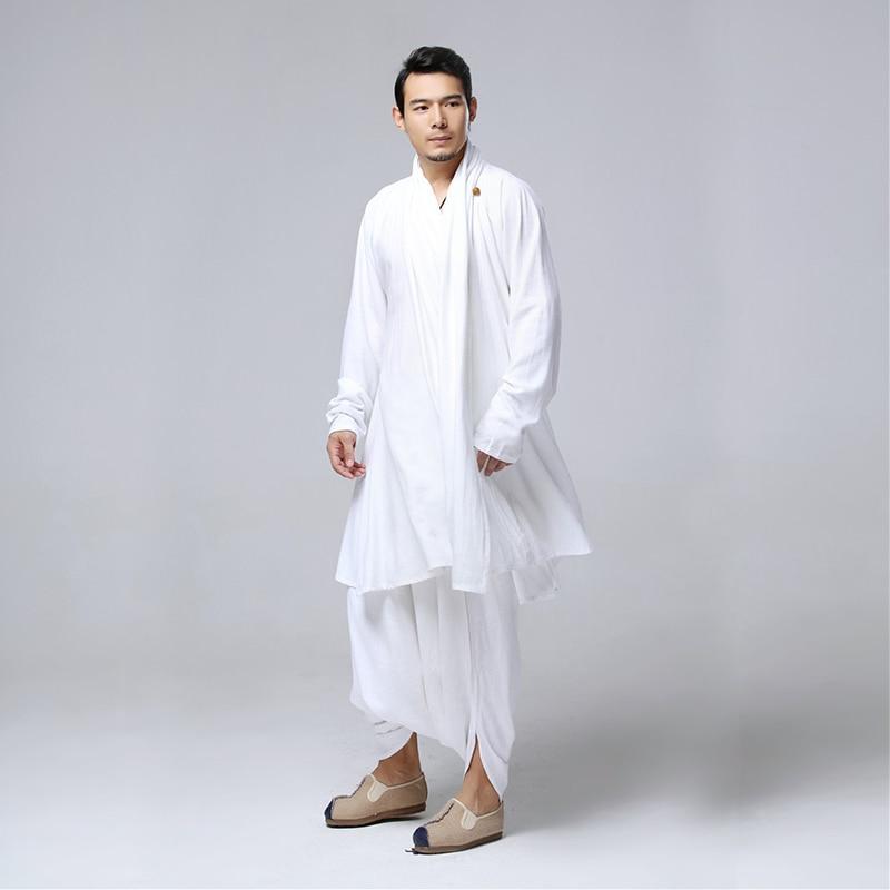 LZJN البوذية التأمل الرجال قمم الملابس التقليدية الصينية الكونغ فو مجموعة القطن الكتان بلوزة مرونة الخصر السراويل فضفاضة قميص