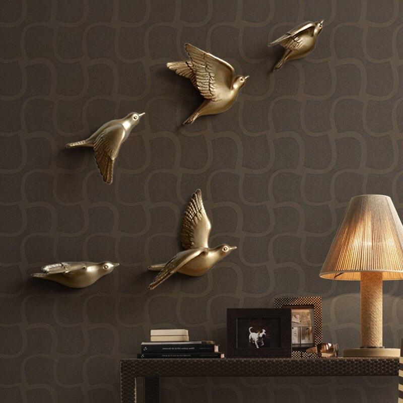 Европейский настенный светильник с птицами из смолы, украшение для дома, гостиной, дивана, телевизора, задний план, 3D настенная наклейка, Настенная роспись, орнамент, искусство - 3