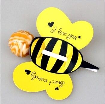50 sztuk/zestaw zwierząt Bee praktyczny butik Cute Lollipop dekoracji karty urodziny i wesele wystrój & cukierki prezent dla dzieci