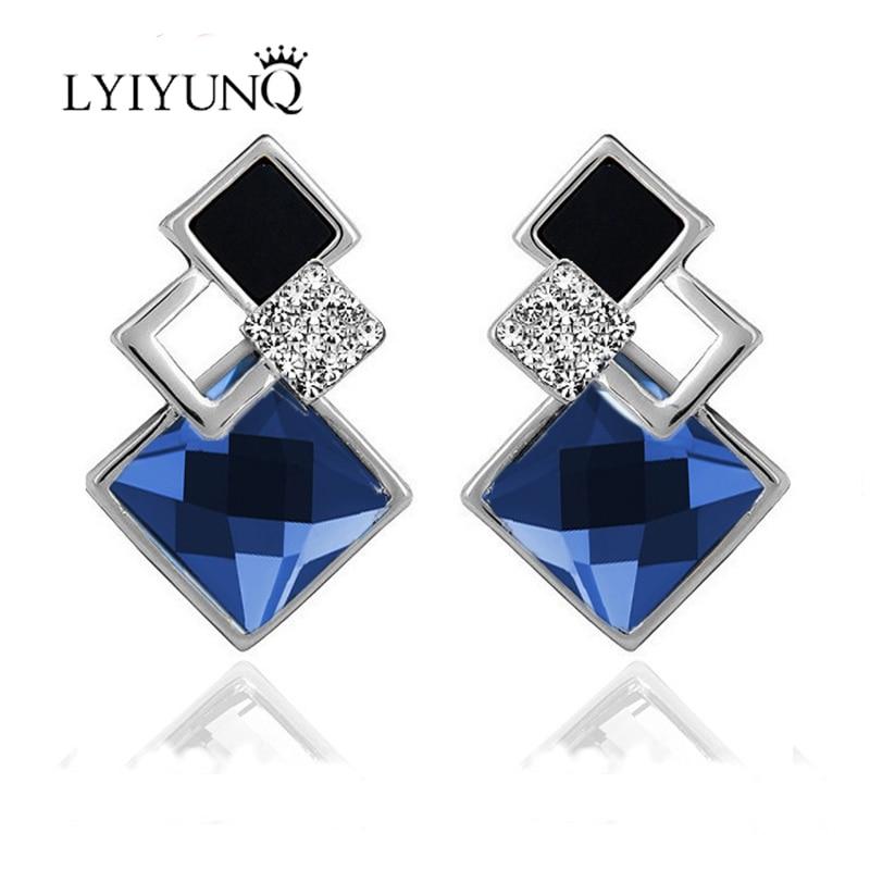LYIYUNQ znani čisto nov modni brincov poročni nakit velik modri - Modni nakit - Fotografija 3