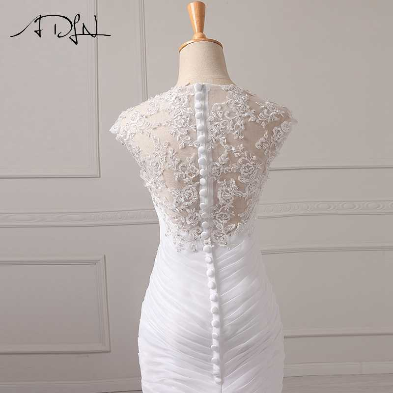 ADLN במלאי חתונה שמלת 2019 Applique ואגלי מחוך אורגנזה לבן/שנהב Vestido דה Noiva חתונה נסיכת כלה שמלות