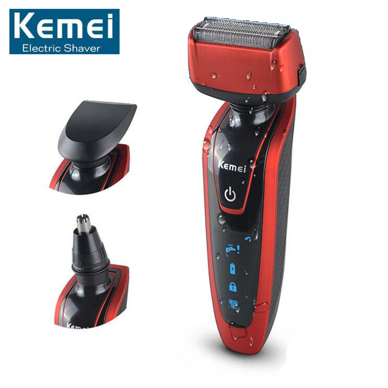 Original Kemei KM5889 Triple Blade 3 In 1 Multifunction Shaver Razor with Nose Trimmer Sideburn Cutter for Men Face Care kairui rechargeable dual blade shaver razor w trimmer ac 220v