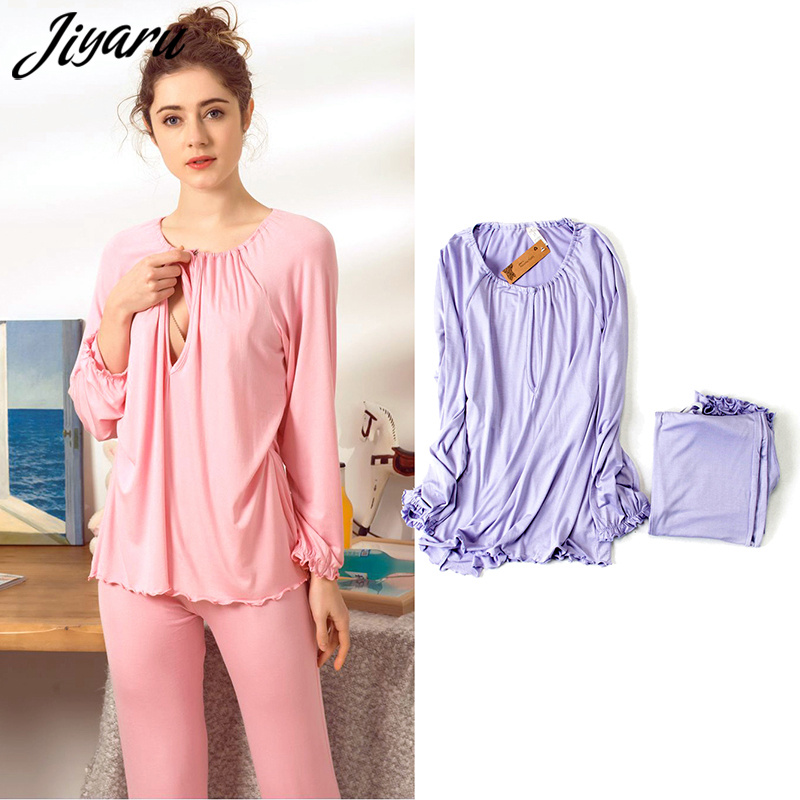 Women Maternity Pajamas Nursing Nightgowns Sleepwear Summer Autumn Breastfeeding Nightgown for Pregnant Women Nursing Pajamas