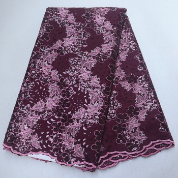 Purple cut-out design African fabric velvet lace fabric embroidered with sequined beads, good quality for sewing dresses