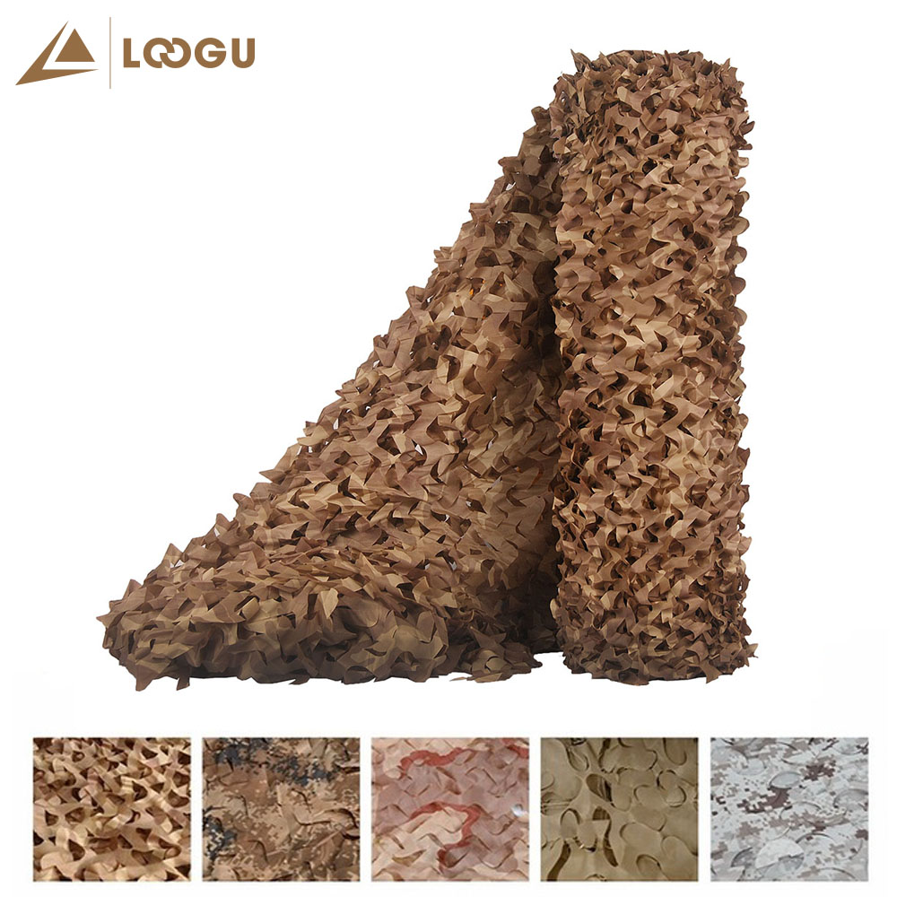 LOOGU E 4M*1.5M Car Tent Camouflage Nets Camping Tarp Camo For Hunting Sniper Camping Military Hunting Shooting Sunscreen Net