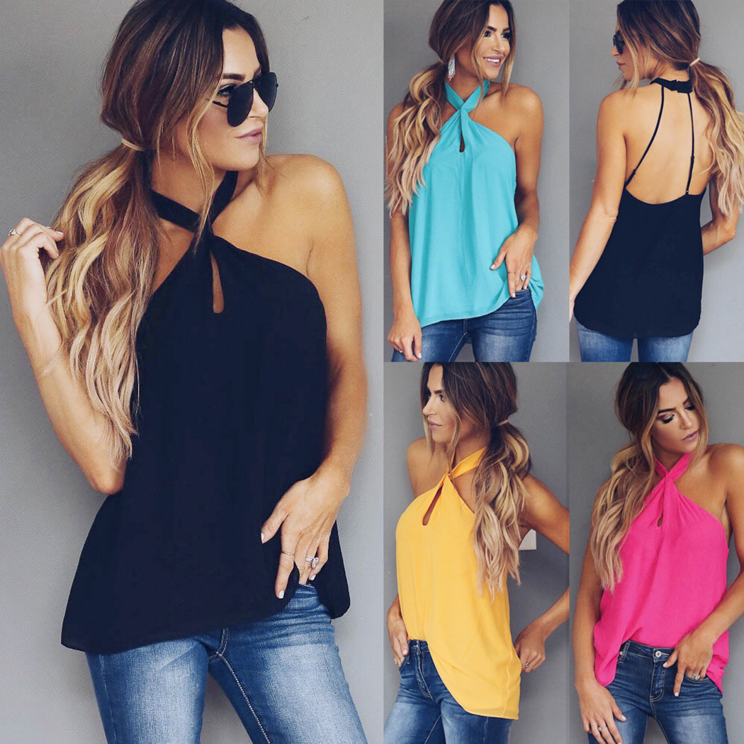 Buy New Summer Sexy Sleeveless Ladies Tops 2018 Fashion Halter Backless Women Blouse Casual Solid Color Loose Shirt Blusas Feminina