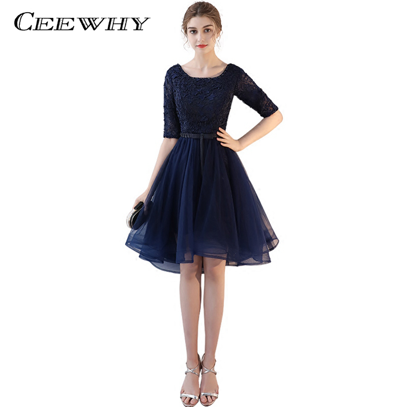 CEEWHY Navy Blue Half Sleeve O-Neck   Cocktail     Dresses   Luxurious Lace Beading Embroidery Vintage   Cocktail     Dress   Short Prom   Dress