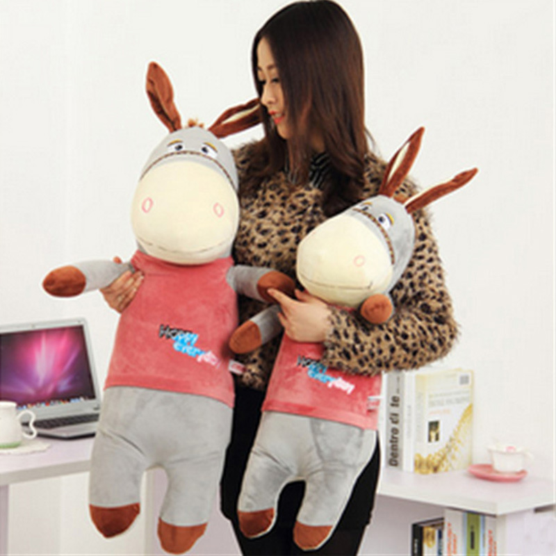 Fancytrader Giant Lovely Stuffed Plush Donkey Toys Big Soft Animal Cartoon Donkey Doll for Children Gifts 2 Colors fancytrader 150cm lovely plush soft cartoon rabbit toy stuffed giant 59 animal bunny nice lover gift