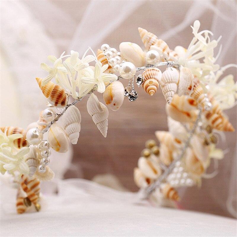 Mode smuk havfrue krans bryllup brude kroner krone hovedbånd hår - Mode smykker - Foto 3