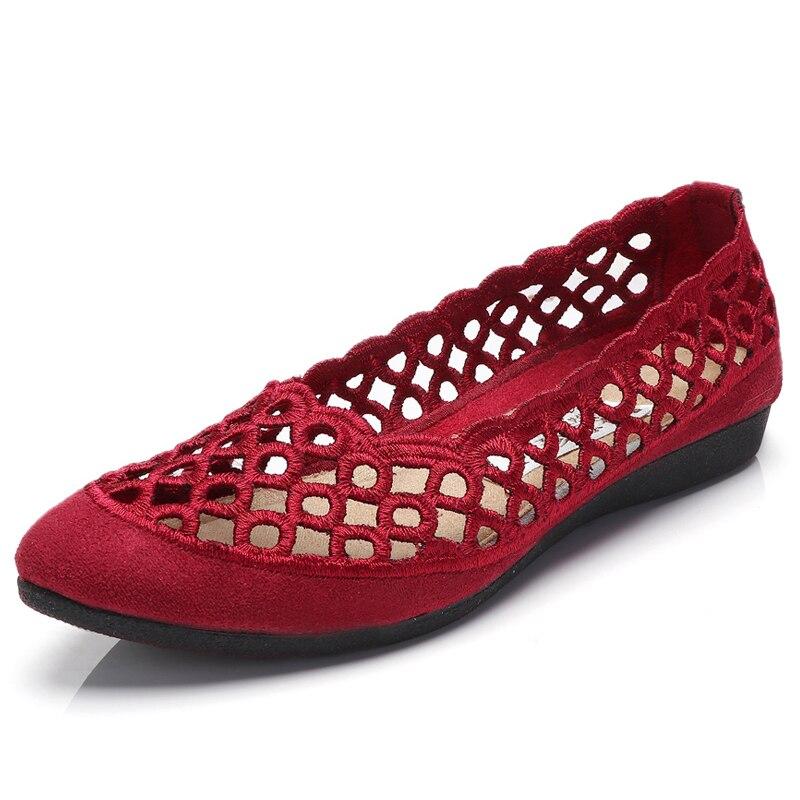 Des Pointu Pour Flats Femmes Dames Black Femme Glissement Plates Noir Chaussures Sur Mocasin Mocassins Découpe Bout Ballet D'été Rouge Appartements red xXcCqnWwd