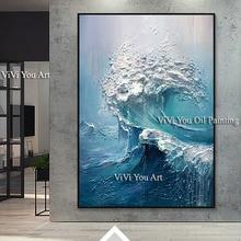 Büyük boy Handpainted duvar tablosu dalgalar deniz okyanus stok duvar sanatı tuval yağlıboya oturma odası ve yatak odası için Duvar Resmi