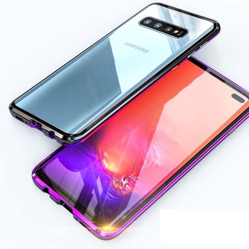 Luxe Magnetische Case 360 Voor + Back Dubbelzijdig 9 H Gehard Glas Screen Cover Voor Samsung Galaxy S10 S10plus Note8 S9 Ks0117