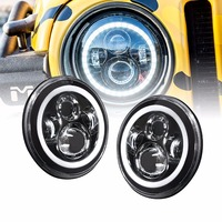 TNOOG 7 Inch Round Projector H4 LED Headlight For Jeep Wrangler 7 Halo Angel Eye Turn Signal Light For UAZ Hunter