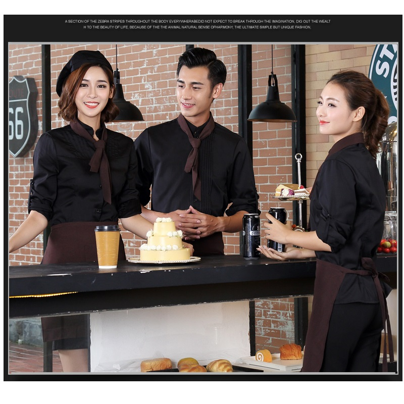 10 Set Shirt & Schort De Cafe Ober Overalls Lange Mouwen Hotel Catering Thee Westerse-stijl Voedsel Snelle- Voedsel Hot Pot Uniform Pak