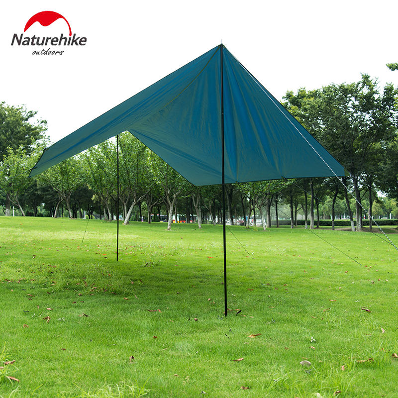Naturehike Sun Shelter Rainproof Sunshade Awning In Thick Oxford Cloth For Outdoor Camping With Tent Stakes pole For 3-4 Person naturehike cloud wing ultralight awning sun shelter ultraviolet proof rainproof large awning for 3 4 person camping tent