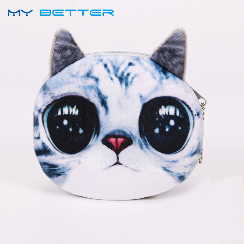 3D Girl Wallet Bag Ladies Face Zipper Mini Cat Coin Purses Dog Children Purse Plush Bolsa De Moeda Coins Pouch Monedero Gato 2017new coin purses wallet ladies 3d printing cats dogs animal big face fashion cute small zipper bag for women mini coin purse