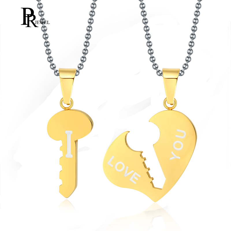 His and Hers Stainless Steel I Love You Heart Lock /& Key Couple Pendant Necklace