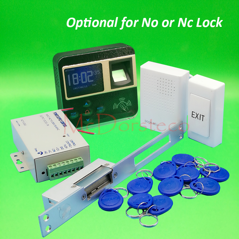 DIY Complete yli Long-type Electric Strike Lock Door System Kit Fingerprint Access Control System + Power Supply + Door Bell