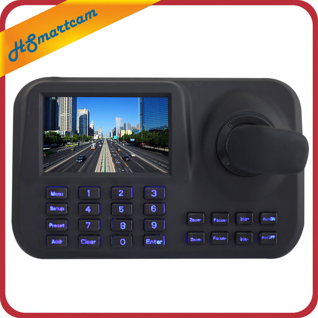 ONVIF Network Keyboard Controller 5 inch 3D Joystick HD LCD Display IP PTZ Keyboard Controller For High Speed Dome Camera