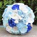 Flor Artificial flor de dama de honra do casamento do noivo da noiva segurando buquê de flor azul do mar decoração do partido prop flores falsas