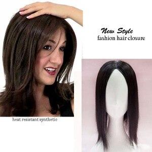Mono laço de cabelo toupee fina pele natural cabelo topper festa parte superior cabelo peça feminina reta cabelo substituição clipe encerramento