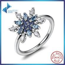 Venta caliente Bijoux 925 Plata Esterlina Cristalizado de Copo de nieve, Cristales de color azul y Claro CZ Anillos de Dedo de la Joyería de Las Mujeres