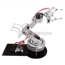 Silver Metal Alloy 6 DOF Robotic Robot Arm Clamp Claw & Swivel Rotatable Stand Mount Kit with Metal Servo Horn