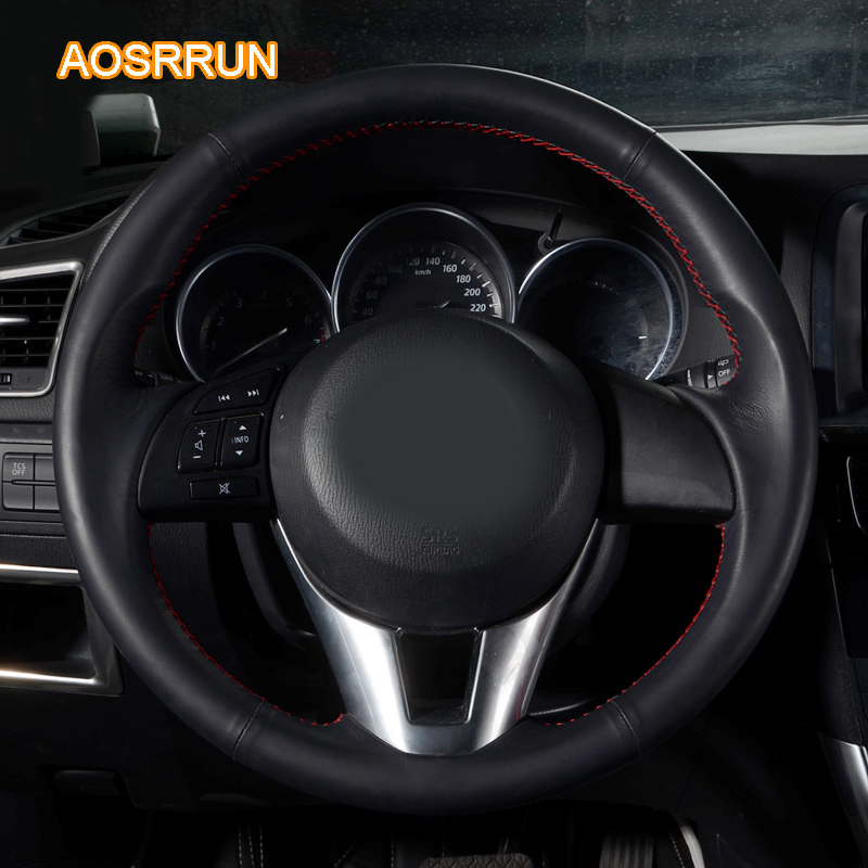 Mazda 6 2014 For Sale: AOSRRUN Car Accessories Sewing Leather Hand Steering Wheel