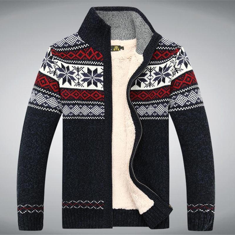 Algodón Lana 2017 Invierno Suéter Espesar Fleece Hombres Cardigan Blusa Masculina Hombres suéter de abrigo tamaño S -3XL