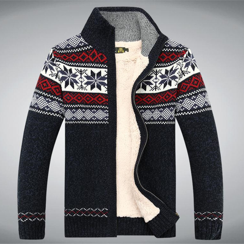 Size S 3XL 100 Cotton 2015 New Thicken Fleece Sweater Men Floral Pattern Cardigan Blusa Masculina