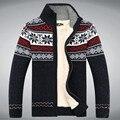 Tamanho S - 3XL 100% algodão engrosse homens de lã Floral Cardigan Blusa Masculina homens não A3043