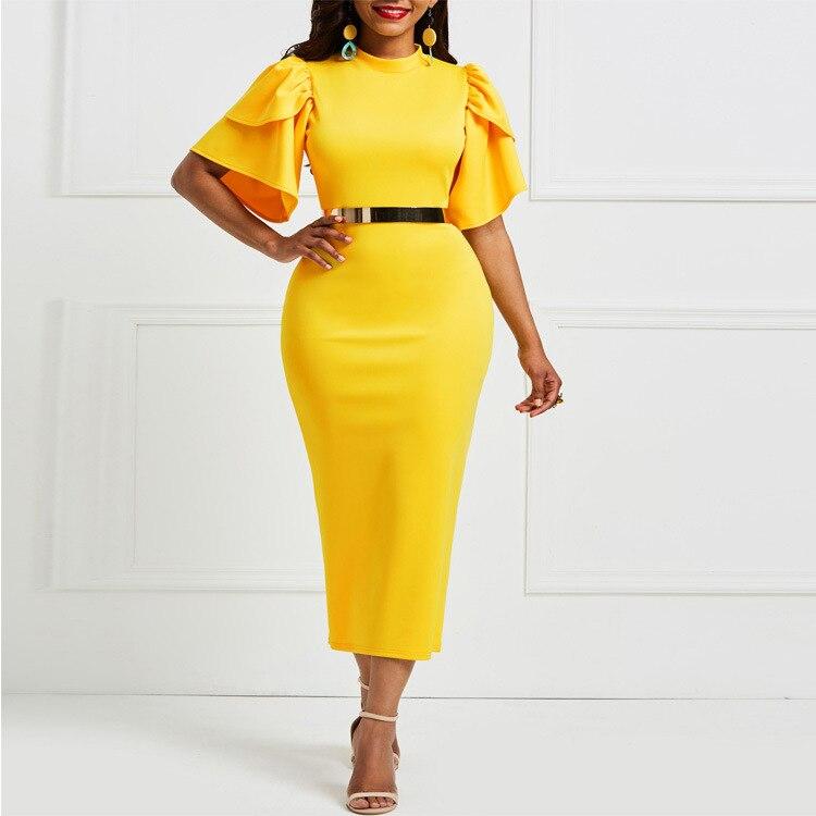 Женское желтое обтягивающее платье, сексуальная вечерняя одежда, праздничная одежда для свиданий, ночная упаковка, хип-халаты, туники, Прям...